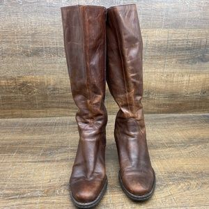 Born Brown Leather Side Zip Tall Block Heel Boots
